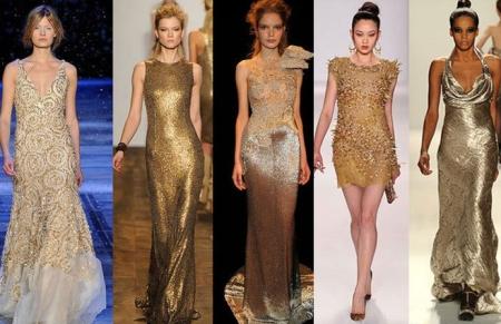 новогодние платья золотого цвета