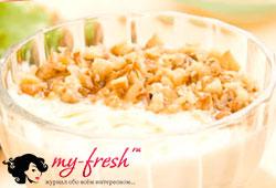 Десерт с грецкими орехами и курагой.