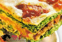 Макароны с пикшей и шпинатом
