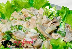 Зелёный салат с курицей.