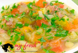 Суп из овощей с патиссонами.