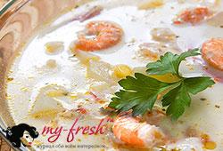 Суп из дыни с креветками