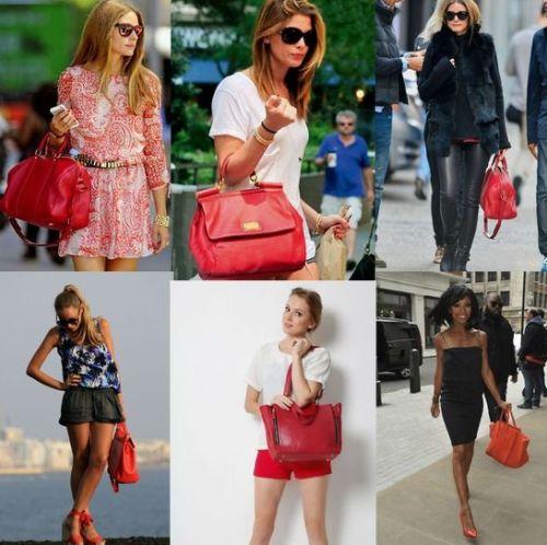 С чем носить красную сумку