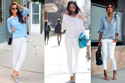 С чем носить белые джинсы или брюки