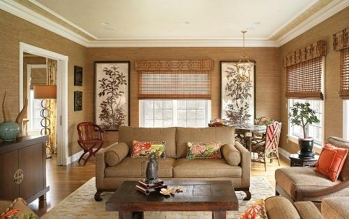 бамбуковые обои в гостиную